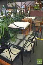 Sale 8331 - Lot 1313 - Metal Dining Setting incl. Glass Top Table & Eight Chairs with Cushions