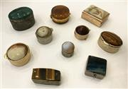 Sale 8436A - Lot 69 - A group of vintage stone set silver plate and gilt pill boxes to include tigers eye, banded agate and other cabochons. (10)