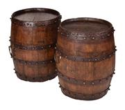 Sale 8473A - Lot 53 - A pair of oak wine barrel whiskey tables with ages steel strapping, and stud detail, H 59 x D 42cm