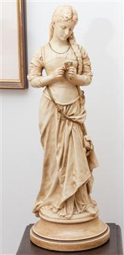 Sale 8590A - Lot 40 - After Moreau, ceramic figure of a contemplative young lady holding a flower, H 61cm, standing on a socle base