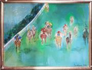 Sale 8726 - Lot 2007A - Artist Unknown - Untitled 1986 (Horse Race) oil on canvas (AF), 91 x 122cm, signed Bailey lower -