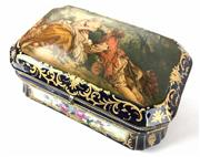 Sale 8995H - Lot 87 - A large Sevres style jewellery casket with scenes of courtiers on the lid, with floral scenes to side panels and gilt  decoration, h...