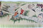 Sale 8909S - Lot 662 - Men and horse themed long Chinese Scroll, L324cm