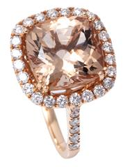 Sale 8980J - Lot 46 - An 18ct Rose Gold Morganite and Diamond Ring; centre double claw set with a 3.95ct cushion cut morganite to halo surround and should...