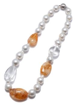 Sale 9124 - Lot 466 - A SOUTH SEA PEARL AND QUARTZ NECKLACE; graduated 13.5-18.6mm baroque cultured pearls of good colour and lustre and 2 rock crystal an...
