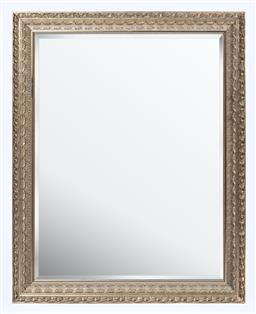 Sale 9130S - Lot 51 - An ornate silvered decorative framed mirror with bevelled edge, Height 135cm x Width 106cm