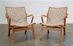 Sale 9188 - Lot 1071 - Pair of bent ply Alberts chairs by Finn Ostergaard (h:78 x w:64 x d:66cm)