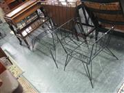 Sale 7933A - Lot 1159 - Black Wire Frame Garden Bench with Armchair