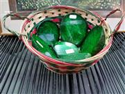 Sale 8462 - Lot 1085 - Basket of 6 Green Tint Agates