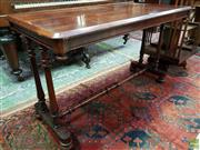 Sale 8576 - Lot 1015 - Victorian Rosewood Side Table, the rectangular top with bevelled edge, with turned double columns & stretcher