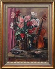Sale 8771 - Lot 2007 - Judy Brownlie - Roses with a Violin 68.5 x 50cm