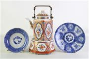 Sale 8926A - Lot 647 - Porcelain Chinese Teapot On Stand H:27cm Together With Two Blue And White Dishes Dia 20cm &15cm