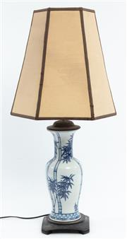 Sale 9020H - Lot 67 - An Oriental lamp with tapered shade, height 84cm