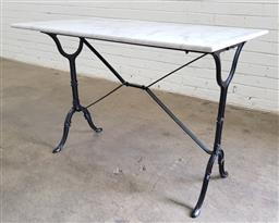 Sale 9102 - Lot 1265 - New waterproofed rectangular Marble top table on cast iron stretcher base (h:71 x l:100 x w:60cm)