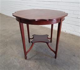 Sale 9162 - Lot 1060 - Late Victorian/ Edwardian Mahogany Occasional Table, the shaped generally circular top with cross-banded edge, raised on tapering le...