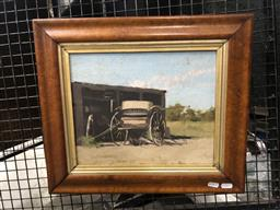 Sale 9139 - Lot 2014 - Artist Unknown Coach Wagon, oil on board, frame: 40 x 46 cm, unsigned