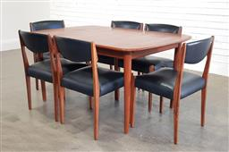 Sale 9188 - Lot 1143 - Teak seven piece dining setting incl. extension table and six upholstered chairs (h72 x w150 x d97cm)