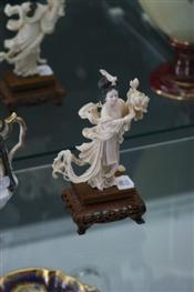 Sale 7876 - Lot 22 - Ivory Carved Figure of a Chinese Lady on a Carved Timber Stand