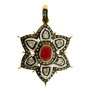 Sale 8050B - Lot 87 - A STERLING SILVER GILT PENDANT; set with a cabochon ruby and table cut diamonds.