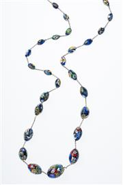 Sale 8293 - Lot 304 - A VINTAGE MURANO GLASS BEAD NECKLACE; graduated multi coloured ovoid beads, length 112cm.
