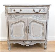 Sale 8471H - Lot 1 - A French distressed en grisaille two door commode with single drawer, H 80 x W 88 x D 49cm