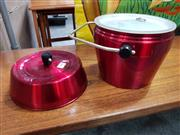 Sale 8822 - Lot 1083 - Cherry Red Anodised Ice Bucket