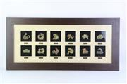 Sale 8810 - Lot 19 - Framed Diorama of Chinese Zodiac Animals,