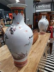 Sale 8889 - Lot 1062 - Pair of Ceramic Chinese Vases with Cranes