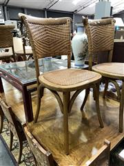 Sale 8896 - Lot 1016 - Set of 4 Mid Brown Timber Dining Chairs with Rattan Back and Seat