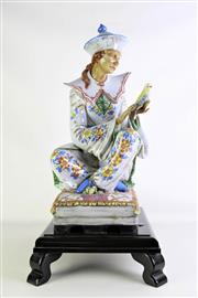Sale 8913 - Lot 50 - A Large Italian Majolica Chinoiserie Figure with Parrot on Timber Base (H 61cm without Stand)