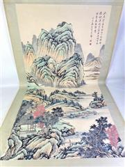 Sale 8909S - Lot 602 - Large Hand Painted Chinese Scroll Featuring Mountain Scene