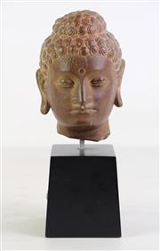 Sale 8926A - Lot 605 - Composite Buddha Head On Stand H: 27cm