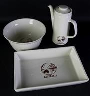 Sale 8997 - Lot 78 - A Suite of 3 Pieces of Bendigo Australian Bi-Centenary Ceramics: Dish, Bowl, Teapot