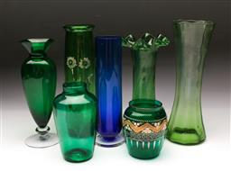 Sale 9098 - Lot 194 - Collection of Coloured Glass Vases incl. Footed Examples