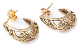 Sale 9124 - Lot 302 - A PAIR OF 9CT GOLD EARRINGS; 7mm wide tapered pierced hoop designs to stud fittings, length 19mm, wt. 4.63g.