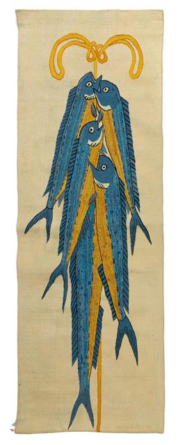 Sale 9130S - Lot 61 - A tapestry entitled The wall painting of Thera, detail from The Fisherman 1997 Height 219.4cm Width 79.2cm, 96/9, woven by the V...
