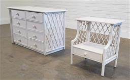 Sale 9188 - Lot 1604 - Painted timber & cane 8 drawer chest (h76 x w120 x d54cm) & a matching bedside