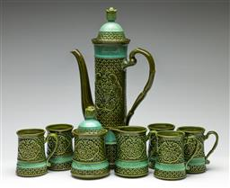 Sale 9209V - Lot 36 - A green glazed Japanese made drinks suite of jug (H: 42cm), three cups, creamer and lidded sugars