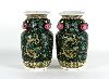 Sale 7521 - Lot 91 - Pair 0f Famille Noir Double Handled Vases