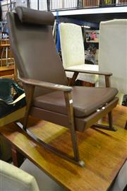 Sale 8115 - Lot 1061 - Timber Framed Rocker w Leather Upholstery
