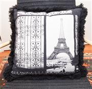 Sale 8308A - Lot 243 - A black and white woven tapestry cushion of The Eiffel Tower