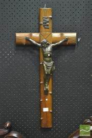 Sale 8359 - Lot 1010 - A Barbed Timber Crucifix with a cast metal figure of Christ