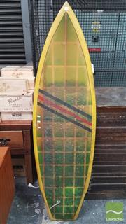 Sale 8395 - Lot 1045 - Vintage Twin Fin Surfboard with Unusual Shaped Swallow Tail to Flat Bottom