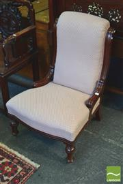 Sale 8390 - Lot 1081 - Edwardian Walnut Ladys Chair with Pink Scale Upholstery