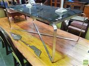 Sale 8447 - Lot 1034 - Black Glass Coffee Table on Metal Base
