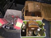 Sale 8659 - Lot 2499 - 3 Boxes of Sundries incl Basket of Boxes, Soda Syphon & Roller Blades