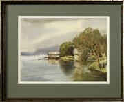 Sale 8716 - Lot 2066 - Mollie Flaxman (1912 - 2004) - Bayview Waterfront, Pittwater 37 x 47cm