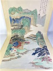 Sale 8909S - Lot 649 - Large Hand Painted Chinese Scroll Featuring Coastal And River Scene