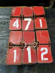 Sale 8967 - Lot 1085 - Collection of Small Vintage Metal Numbered Score Plates ( 17 x 9.6cm)