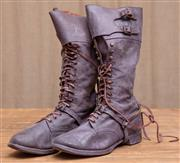 Sale 8984H - Lot 42 - A pair of early brown leather military lace up riding boots with leather soles and spurs. Approx mens size 8